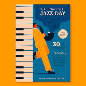 plantilla de cartel vertical del día internacional del jazz plano orgánico