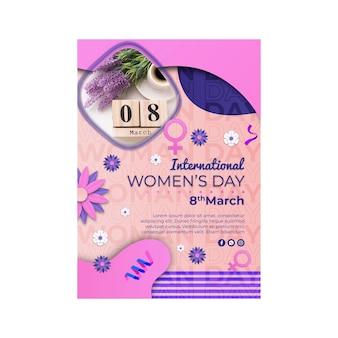 Plantilla de cartel vertical del día internacional de la mujer con símbolo femenino