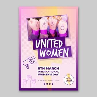 Plantilla de cartel vertical del día internacional de la mujer