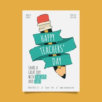 Plantilla de cartel vertical del día del maestro plano dibujado a mano