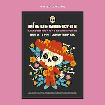 Plantilla de cartel vertical de dia de muertos dibujado a mano