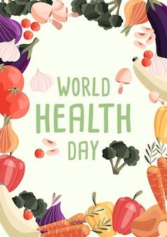 Plantilla de cartel vertical del día mundial de la salud con colección de verduras orgánicas frescas