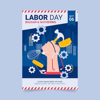 Plantilla de cartel vertical del día del trabajo dibujado a mano
