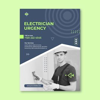 Plantilla de cartel vertical de electricista vector gratuito