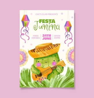 Plantilla de cartel vertical festa junina de acuarela pintada a mano