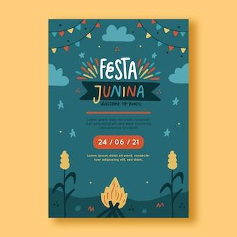 Plantilla de cartel vertical festa junina dibujado a mano