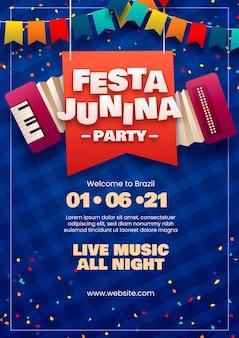 Plantilla de cartel vertical de festa junina realista