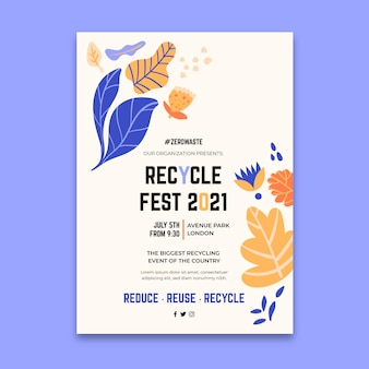 Plantilla de cartel vertical para el festival del día del reciclaje