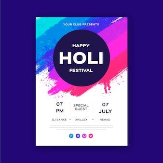 Plantilla de cartel vertical del festival holi dibujado a mano