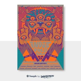 Plantilla de cartel vertical de festival de música con criatura