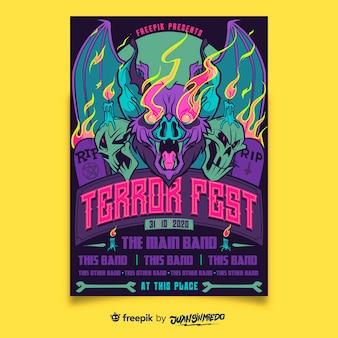 Plantilla de cartel vertical de festival de música con murciélago