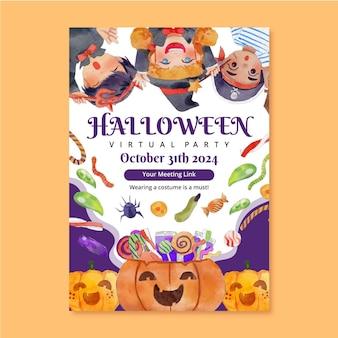 Plantilla de cartel vertical de fiesta de halloween en acuarela