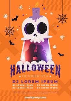 Plantilla de cartel vertical de fiesta de halloween plana dibujada a mano con foto