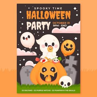 Plantilla de cartel vertical de fiesta de halloween plana dibujada a mano