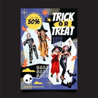 Plantilla de cartel vertical de fiesta de halloween plana con foto