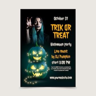 Plantilla de cartel vertical de fiesta de halloween realista con foto