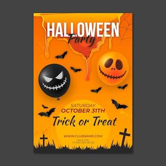 Plantilla de cartel vertical de fiesta de halloween realista