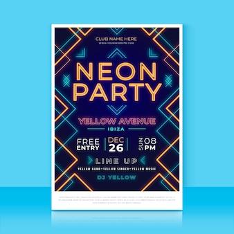 Plantilla de cartel vertical de fiesta de neón