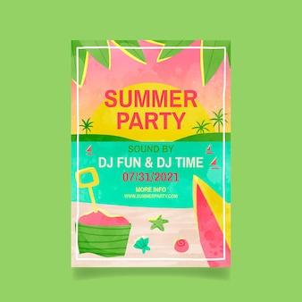 Plantilla de cartel vertical de fiesta de verano en acuarela pintada a mano