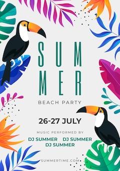 Plantilla de cartel vertical de fiesta de verano degradado