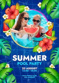 Plantilla de cartel vertical de fiesta de verano dibujada a mano con foto
