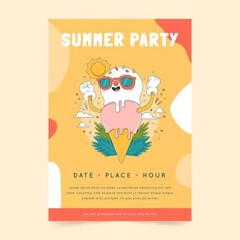 Plantilla de cartel vertical de fiesta de verano dibujada a mano