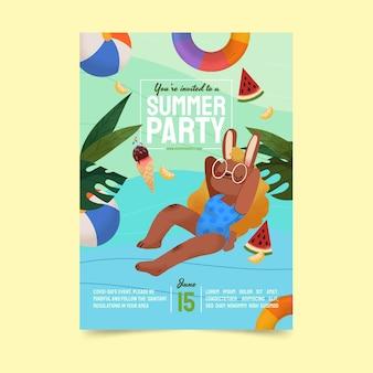 Plantilla de cartel vertical de fiesta de verano dibujado a mano