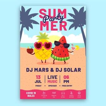 Plantilla de cartel vertical de fiesta de verano de dibujos animados