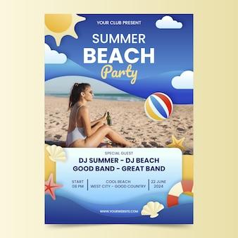 Plantilla de cartel vertical de fiesta de verano con foto en estilo papel