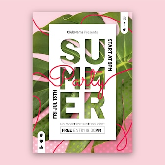 Plantilla de cartel vertical de fiesta de verano plana con foto