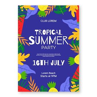 Plantilla de cartel vertical de fiesta de verano plana