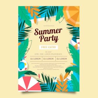 Plantilla de cartel vertical de fiesta de verano plano orgánico
