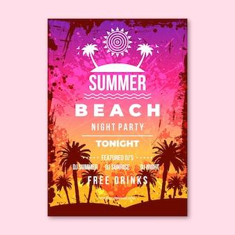 Plantilla de cartel vertical de fiesta de verano realista