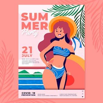 Plantilla de cartel vertical de fiesta de verano