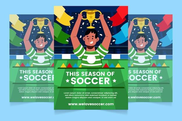 Plantilla de cartel vertical de fútbol sudamericano de dibujos animados