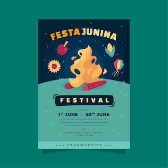 Plantilla de cartel vertical gradiente festa junina