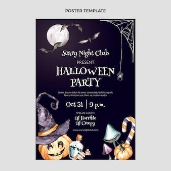 Plantilla de cartel vertical de halloween en acuarela