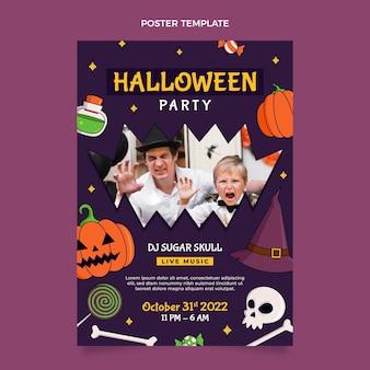 Plantilla de cartel vertical de halloween dibujado a mano