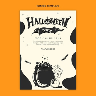 Plantilla de cartel vertical de halloween plano dibujado a mano
