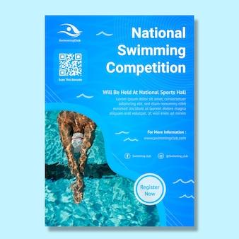 Plantilla de cartel vertical de natación