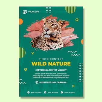 Plantilla de cartel vertical de naturaleza salvaje
