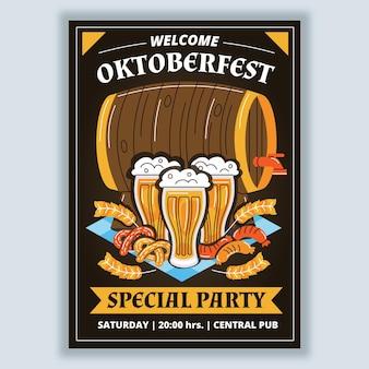 Plantilla de cartel vertical oktoberfest dibujado a mano