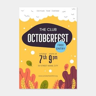Plantilla de cartel vertical de oktoberfest