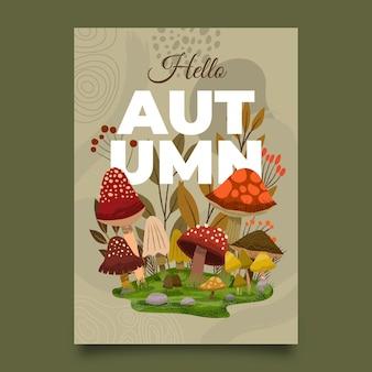 Plantilla de cartel vertical de otoño dibujado a mano