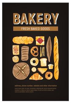 Plantilla de cartel vertical con pan fresco, pasteles, productos horneados de varios tipos