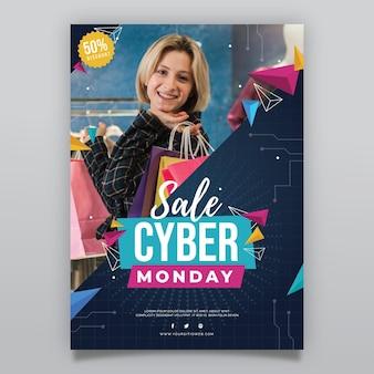 Plantilla de cartel vertical plano de cyber monday