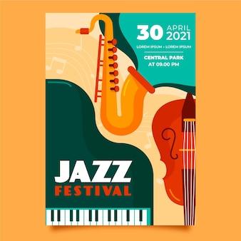 Plantilla de cartel vertical plano del día internacional del jazz