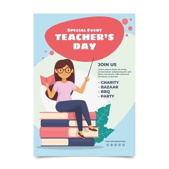 Plantilla de cartel vertical plano del día del maestro