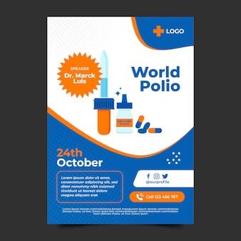 Plantilla de cartel vertical plano del día mundial de la poliomielitis