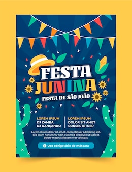 Plantilla de cartel vertical plano festa junina